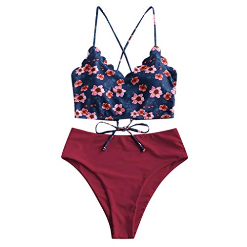 LootenKun Bikini Damen High Waist Sexy Tankini Push Up Bikini RüSchen Set Zweiteilige Badeanzug Strandkleidung Neckholder Triangel Oberteil Bandage Bikinihose