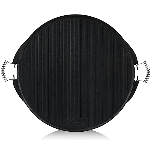 BBQ-Toro Gusseisen Grillplatte mit Griffen | Ø 53 cm | Wendeplatte, emailliert | Gasgrill Zubehör | Emaille Plancha für BBQ, Kugelgrill, Holzkohlegrill