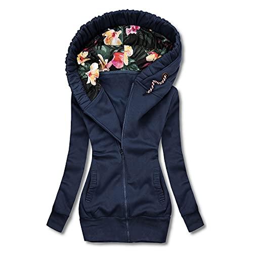Frauen Winterjacke Full Zip Hoodies Jacke Reißverschluss Sweatshirt Langarm Mantel Oversize Outdoorjacken Hoher Kragen Sweatjacke Warm Funktionsjacken
