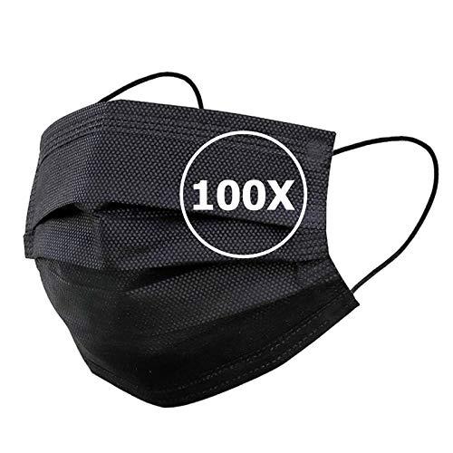 TBOC Einweg Hygienemaske - [Pack 100 Einheiten] Polypropylenmaske [Schwarz] 3 Lagen Weiche Leichte Atmungsaktive mit Nasenclip Gesicht Schutz Hohe Filtration Beständig Maske Nicht Wiederverwendbar