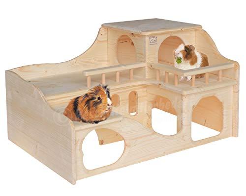 """Resch Nr35 Meerschweinchenschloss naturbelassenes Massivholz aus Fichte/Mit Zwei großen EIN-/Ausgängen im Erdgeschoss, die im inneren durch einen """"Tunnel"""" verbunden sind / 55 x 39 x 33 cm (LxBxH)"""