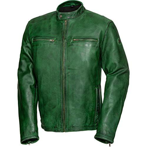 Spirit Motors Motorradjacke mit Protektoren Motorrad Jacke Retro-Style Lederjacke 5.0 grün M, Herren, Chopper/Cruiser, Sommer, Leder/Textil