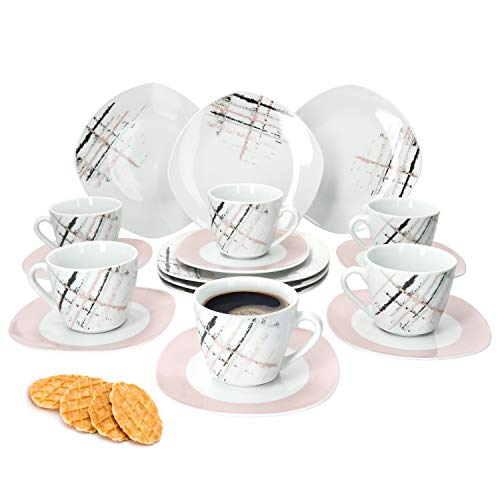 MamboCat 18tlg. Kaffeeservice Crossy Industrial Style I Kaffeetasse, Untertasse & Kuchenteller I Kaffee-Set I pflegeleichtes Kombi-Service für 6 Personen I Kaffee-Service-Set I Kaffee-Geschirr-Set
