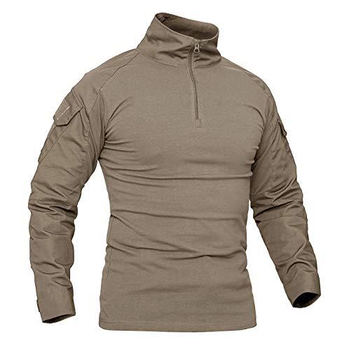 KEFITEVD Herren Camouflage Shirt Military Uniform Bundeswehr Kleidung Woodland Trainingsshirt Atmungsaktiv Baumwolle Shirt Winter Jagdhemd Männer Khaki L (Etikett: 2XL)