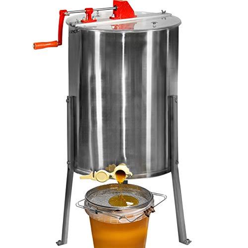Jago® Honigschleuder - aus Edelstahl, Manuell, für 4 Waben, Ø490 mm, mit Deckel - Honig Extraktor, Schleuder, Tangentialschleuder, Honey Extractor, Imker und Bienenzüchter Zubehör
