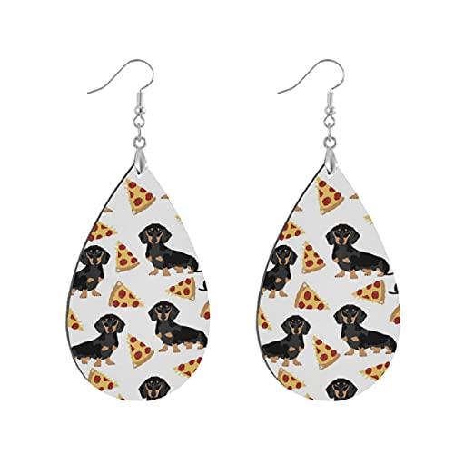 Modische Holz-Ohrringe in Tropfenform, leicht, Tropfenform, Ohrring für Frauen, Schmuck, Doxie, Dackel, Pizza, lustig, niedlich, Haustierfutter, Pizzen