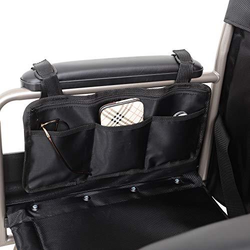 Sichere Aufbewahrungstasche für Rollstühle Tasche, Mobilitätshilfe für Rollstühle Ältere Personen Hände frei Armlehne Hängegriff Halter Aufbewahrungstasche für Rollstühle (black)