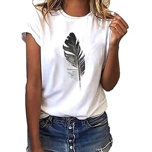 Damen T Shirt, CixNy Bluse Damen Kurzarm Sommer Art Und Weise Lose Sleeved Blatt Druck Beiläufiger O Ansatz Oberteil Tops (Weiß, XXX-Large)
