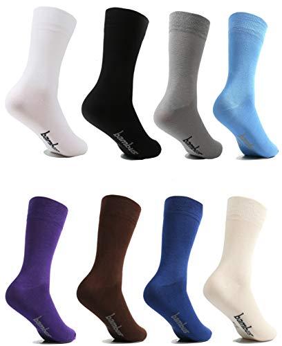lampox Bambussocken (6x Paar) Atmungsaktiv Socken Business Sport Laufen Reduziert Schweiß (39-42, Navy dunkelblau)