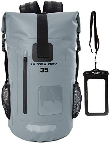 Ultra Dry Adventurer Wasserdichter Rucksack mit Tasche, 35 l, ideal für Bootfahren, Kajak, Wandern, Kanufahren, Angeln, Raften, Schwimmen, Campen, Snowboarden, grau, 35 L
