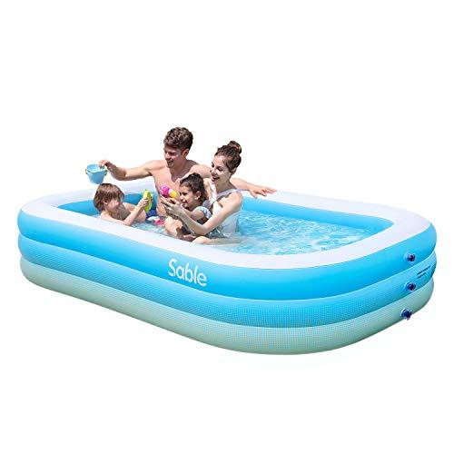 Sable Aufblasbarer Pool, 234 x 142 x 51cm großer Family Pool, Schwimmbecken rechteckig für Kinder ab 3 Jahren, Jugendliche und Erwachsene, für Garten und Outdoor