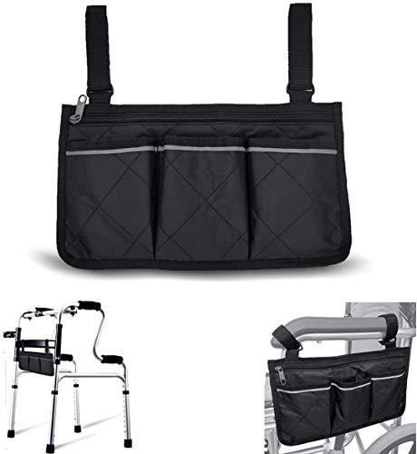 Rollstuhl-Armlehnentasche für ältere Menschen, sichere Mobilitätshilfe Rollstuhl-Zubehör Aufbewahrungstasche wasserdicht und langlebig mit zwei reflektierenden Streifen passend für Bettschienen Roller