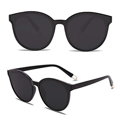 SOJOS Runde Sonnenbrille Damen Herren UV-Schutz Groß Fashion Design SJ2057 mit Schwarz Rahmen/Grau Linse