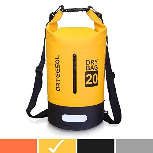 arteesol wasserdichte Tasche 5L/10L/20L/30L Dry Bag Rucksack mit Doppel-Schultergurt Rucksack für Schwimmen, Kajak, Bootfahren, Angeln, Reisen, Radfahren, Strand, gelb, 30L