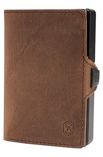 ZNAP Slim Wallet mit Münzfach - Kreditkartenetui mit Geldklammer - RFID Schutz - Braun Vintage Echtleder - Kartenetui Aluminium, Kreditkarten Etuis, Geldbeutel - bis 12 Karten - Geld Clip