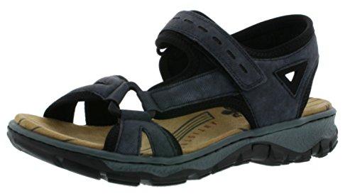Rieker 68879 Damen Sandalen, Sandaletten, Sommerschuhe blau Kombi (Jeans/schwarz / 14), EU 40