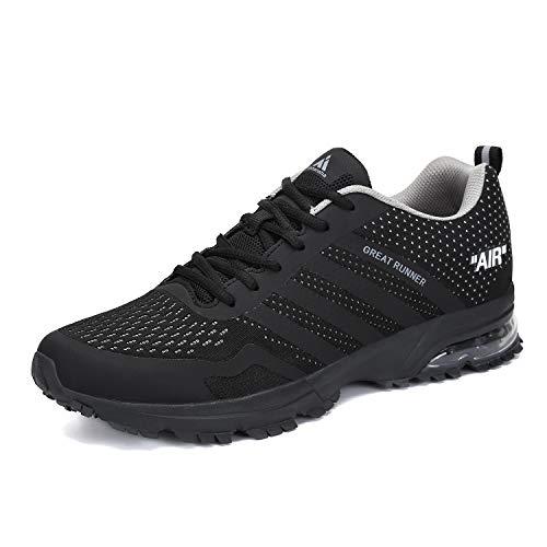 Laufschuhe Herren Damen Sportschuhe Leichte Turnschuhe rutschfeste Atmungsaktive Sneaker Mesh Running Schuhe Männer Frauen Schwarz 42 EU