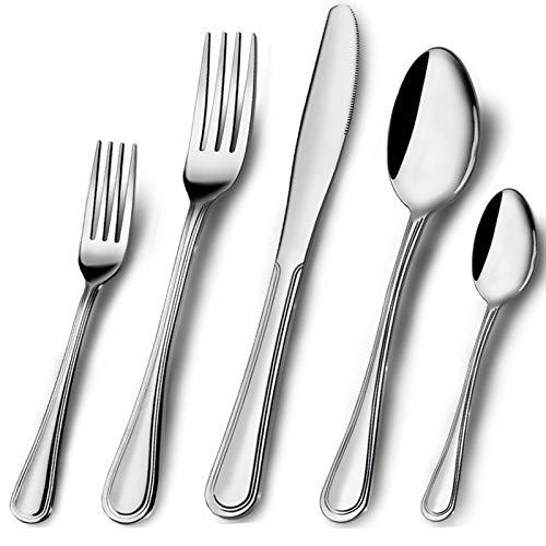 Elegant Life 60 TLG Besteckset, Besteck aus Edelstahl,Service für 12 Personen,Messergabel-Löffel-Set Ideal für Zuhause/Camping/Party,einfach zu reinigen und spülmaschinenfest-gesund und spiegelpoliert
