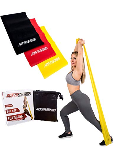 ActiveVikings® Fitnessbänder 2m Set 3-Stärken - Ideal für Muskelaufbau Physiotherapie Pilates Yoga Gymnastik und Crossfit - Fitnessband Gymnastikband Widerstandsband