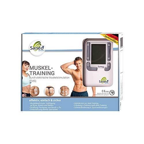SaneoSPORT Muskeltraining elektrischer EMS TENS Muskelstimulator für Muskelaufbau am gesamten Körper   deutsche Markenqualität   Medizinprodukt