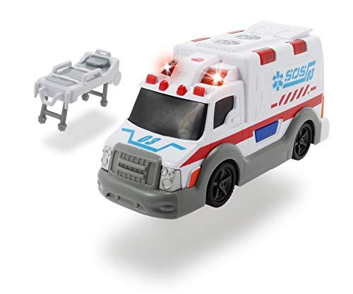 DICKIE 203302004 Toys Krankenwagen, Rettungswagen, Spielzeugauto mit Trage, Heckklappe zum Öffnen, Licht & Sound, inkl. Batterien, 15 cm, ab 3 Jahren
