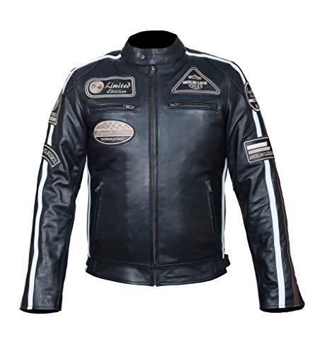 Hawk Sports Herren Retro Biker Lederjacke Motorrad Jacke Race Streifen Rockerjacke Chopper,Gr. M bis 4XL (L)