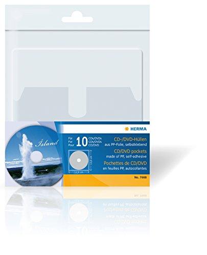 Herma 7688 DVD CD Hüllen Kunststoff transparent, selbstklebend (Format 129 x 130 mm, 1 CD DVD je Hülle) 10 Sichthüllen mit Lasche, Rückseite vollflächig klebend, zum einkleben