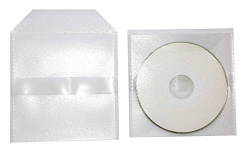 100 Mini-CD Hüllen zum Einkleben mit Lasche, stabile Folienüllen aus PP Folie 120 my transparent mit Klappe und 1 selbstklebende streifen rückseitig, für je 1 Mini CD/DVD Rohling (8cm)