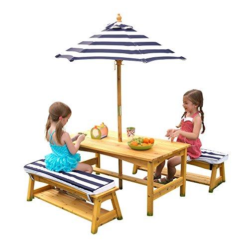 KidKraft 106 Gartentischset mit Bank, Kissen und Sonnenschirm Gartenmöbel für Kinder - Streifenmuster, Naturfarben