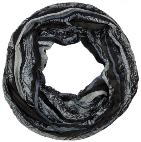 styleBREAKER Loop Schlauchschal mit Streifen und Paisley Muster 01018004, Farbe:Schwarz-Grau
