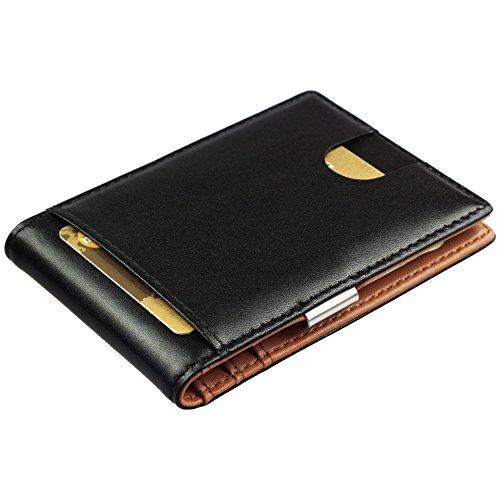 Geldbörse Herren mit Geldklammer und RFID Schutz- Portemonnaie Männer klein, Geldbeutel Herren, Vatertag, Slim Wallet mit Money Clip