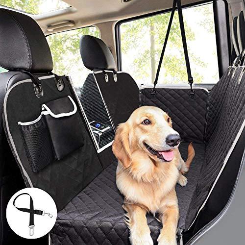 Pecute Hundedecke für Auto Rückbank mit Mesh Fenster,Kofferraumdecke für Hunde (146x136cm) Hand Autoschondecke mit Sicherheitsgurt, Rücksitzbezüge für Hunde Schwarz (Einfarbig)