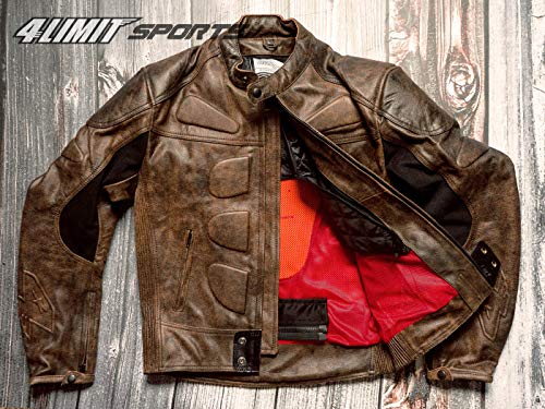4LIMIT Sports Herren Motorradjacke Leder STREETBANDIT Biker Rocker Motorrad Jacke Lederjacke bufallo braun