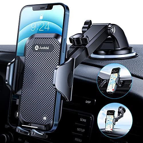 andobil Handyhalterung Auto [ Hält Bombenfest & Robuste ] Universal KFZ Handyhalterung Saugnapf & Lüftungsclip 360° Drehung Handy Halterung pkw für Alle Smartphones, z.B iPhone Samsung Huawei LG