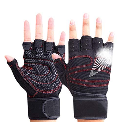 CESHMD Sport Gym Handschuhe Halbfinger Breathable Gewichtheben Fitness Handschuhe Hantel Männer Frauen Gym Handschuhe (Schwarz, L)