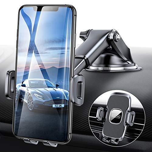 TORRAS Handyhalter Auto Saugnapf mit Lüftungclips, Kratzschutz, Universale Kfz Handyhalterung Flexibel für Armaturenbrett/ Windschutzscheibe/ Lüftungsschlitzen
