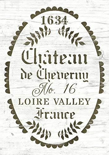 Französische Shabby Chic Vintage Schablone - Schloss Chateau de Cheverny Frankreich