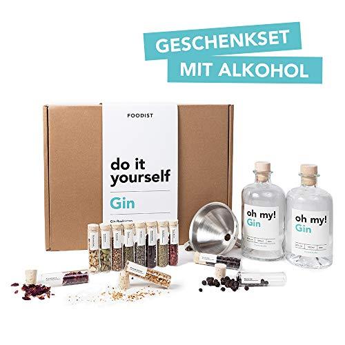 Foodist Gin Baukasten | Gin-Set zum Selbermachen | 12 hochwertige Botanicals | 11 Gin Gewürze | Geschenkset mit Basis- Alkohol 38% (0.5 l) für Männer und Frauen inkl. Rezept-Buch und lustigem Gin Quiz