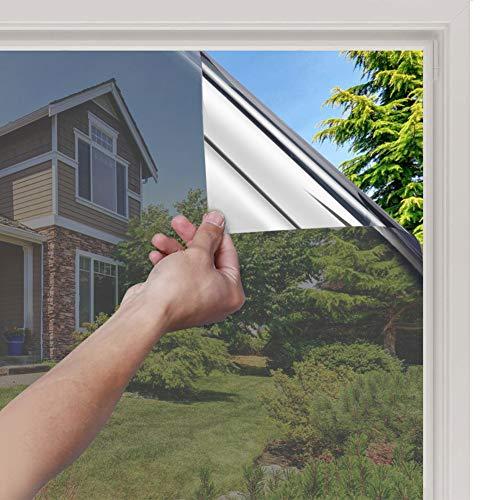 rabbitgoo Spiegelfolie Selbstklebend Sonnenschutzfolie Sichtschutzfolie Verdunklungsfolie Fensterfolie für Fenster Sichtschutz Spiegel Folie Wärmeisolierung Tönungsfolie UV-Schutz Silber 44,5 x 200cm