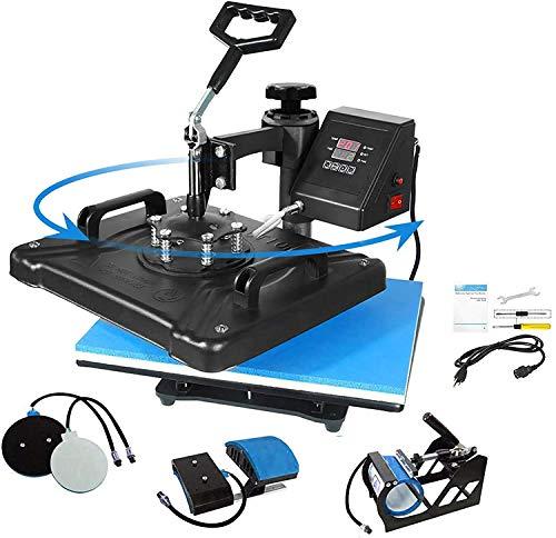 AONESY Pro 5-in-1 Kombi Transferpresse für T-Shirt Hut Deckel Tasse Becher Platte, Multifunktionale Digitale Wärmeübertragung ssublimations Maschine mit 360-Grad-Drehung, 38 x 30 cm