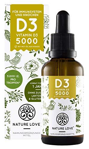 NATURE LOVE® Vitamin D3 - Mehrfacher Sieger 2020/2019* - 5000 IE pro Tropfen - Laborgeprüft - Premium: sehr hohe Stabilität. Flüssig in Tropfen (50ml). Hochdosiert, hergestellt in Deutschland