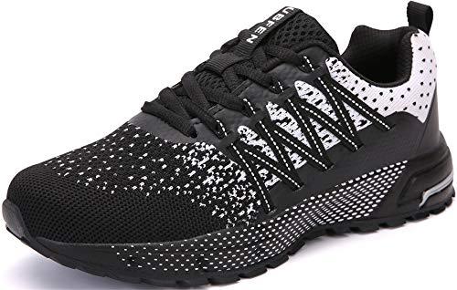 SOLLOMENSI Laufschuhe Herren Sportschuhe Straßenlaufschuhe Sneaker Joggingschuhe Turnschuhe Walkingschuhe Schuhe 45 EU H Schwarz Weiß