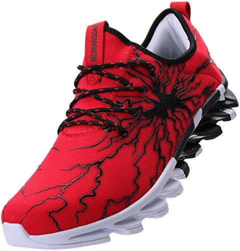 BRONAX Herren Sportschuhe Schnürschuhe Atmungsaktiv Moderne Freizeit Sneaker Schuhe Outdoor Laufschuhe Low-Top Bequeme Turnschuhe Joggingschuhe Männer Jungen Rot Schwarz 44 EU (45 Asien)
