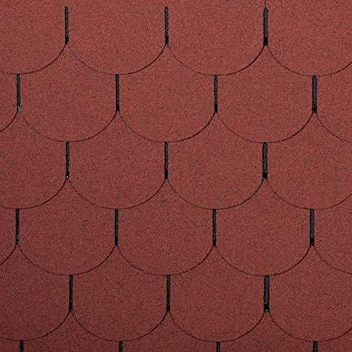doitBau PREMIUM Bitumen Dachschindeln - Dachpappe Selbstklebend für 1m² Dachfläche - Farbe: Ziegelrot - 7 Stück   Biberschwanz Schindeln geeignet für Vogelhaus & Gartenhaus