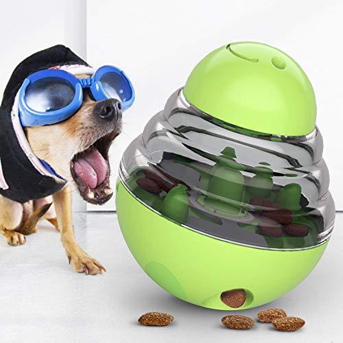 JIMACRO Dog Tumbler Ball, Hundefutter Spender Ball, Tumbler Spielzeug Haustierfutter Spielzeug Ball ungiftig Bite resistent Spielzeug Ball, langsames Fressen Interaktives Spielzeug (Green)