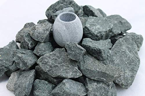 (5 kg) Saunasteine Diabas (vorgewaschen) 23-56 mm + Saunakko Saunatasse als SET