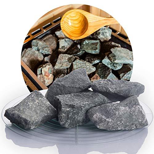 Deutsche Diabas Saunasteine 10 kg 5-8 cm oder 8-12 cm, hochwertige Aufgusssteine für den Saunaofen, vorgewaschen (5-8 cm)
