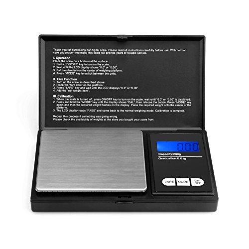 200g/0, 01g Taschenwaage - Ascher digitale Taschenwaage, 200 x 0, 01 g, Taschenwaage Feinwaage Digitalwaage Goldwaage Münzwaage