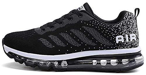 tqgold Sportschuhe Herren Damen Laufschuhe Turnschuhe Sneakers Leichte Schuhe (Schwarz,43 Größe)