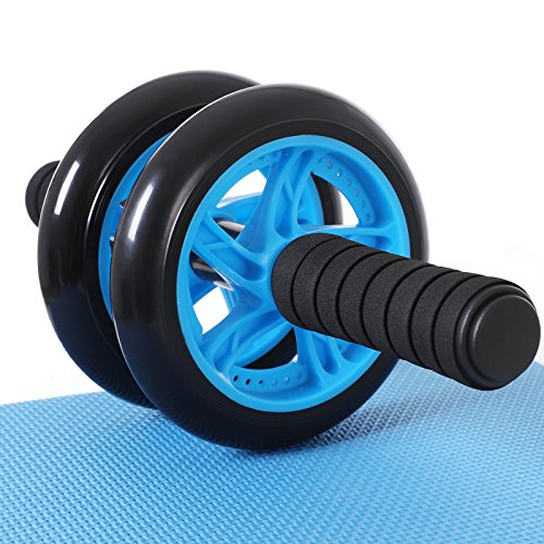 SONGMICS Bauchroller, AB Roller Bauchtrainer, AB Wheel für Fitness, mit rutschfester, gut gepolsterter Kniematte, Bauchmuskeltraining und Muskelaufbau, für Frauen und Männer, blau SPU75P
